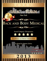 NYC Chiropractor Back and Body Medical 5-Star Patient Satisfaction Award for 2013