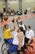 Wheelchair athletes play basketball during the National Veterans Wheelchair Games