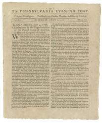 Rare first newspaper printing of the Declaration of Independence will be auctioned in NYC at Robert A. Siegel Galleries on June 25th with Seth Kaller, leading rare document dealer.