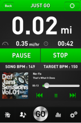 The GoTunes workout music app dashboard