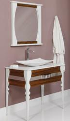 "decolav 5263 natasha 37"" wood Bathroom Vanity with terrazzo top, vitreous china vessel lavatory sink, and single faucet hole"