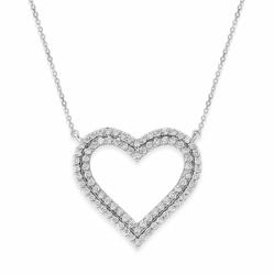 Diamond Double Heart Necklace in 14k White Gold with 84 Diamonds weighing .84ct tw