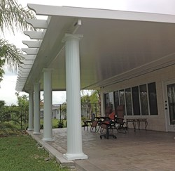 A Pergola Style Insulated Patio Roof From Venetian Builders, Inc., Miami.  The Roof Is Aluminum Clad For Low Maintenance And Long Life.