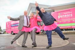 Britannia Bradshaw International Removals & Storage and BCL Office Moving paint trucks pink to help Genesis Breast Cancer Prevention charity