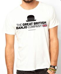The Great British Banjo Company logo on a T-shirt, designed by Matt Copland