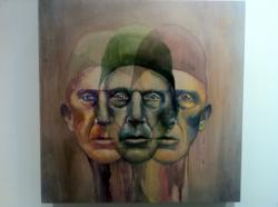 """Three Headed Man"" by 17 year-old Jeanne Li, a senior at Dwight Englewood High School, and a winning entry at One River Gallery's ""Art Effect"" high school art competition."