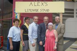 Everyone enjoys a cup of lemonade after the Cancer Center's Flash Mob during CHOP's 10th annual Alex's Lemonade Stand event