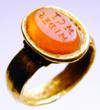 Roman Gold Ring with Inscribed Carnelian Gem