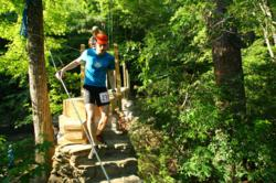 A runner crossing the partially-reconstructed bridge during last weekend's race.
