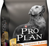 A Golden Retriever from Meadows Golden Retrievers featured on Pro Plan dog food packaging.