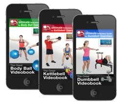Images of the three new videobook covers on iphones; the great dumbbell videobook, the great body ball videobook, and the great kettlebell videobook.