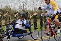 Vietnam veteran Steve Miller finishes the Face of America ride.
