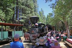 Guests wait to board the Yosemite Mountain Sugar Pine Railroad during last year's Ride the Rails for Kids event that raised money for the Children's Museum of the Sierra