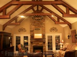Manufactured wood beams provide the terrific look of sandblasted beams more affordably.