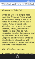 Screenshot of WritePad app for Windows Phone