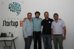Kfir Damari, SpaceIL Founder and Co-CEO with Jerusalem Startup Hub Team - Levy Raiz, Roman (Rafael) Gold, Gadi Isayev