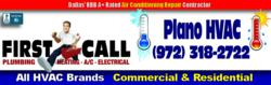 Trane, Carrier, Amana, Goodman, Lennox, Bryant 24/7 Heating and Air Conditioner Repairs in Plano, TX by First Call Heating and Air Conditioning