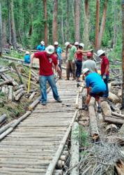 Breckenridge Grand Vacations Employees Team Up for Trail Work on the Peaks Trail in Breckenridge.