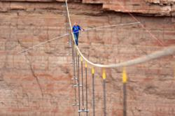 Nik Wallenda walks tightrope at Grand Canyon.