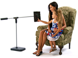 Mother and Daughter using the SwingHolder iPad floor stand