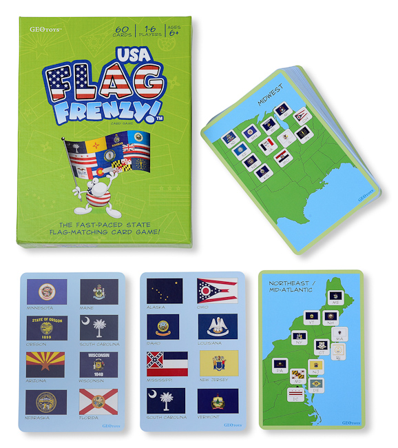 Flag Frenzy Usa Card Game Includes 50 Cards And A Map Of The Usa With All The State Flags