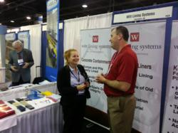 Witt Lining Systems President Andrew Hotchkies (r) discussing PVC liners at SUR/FIN 2013