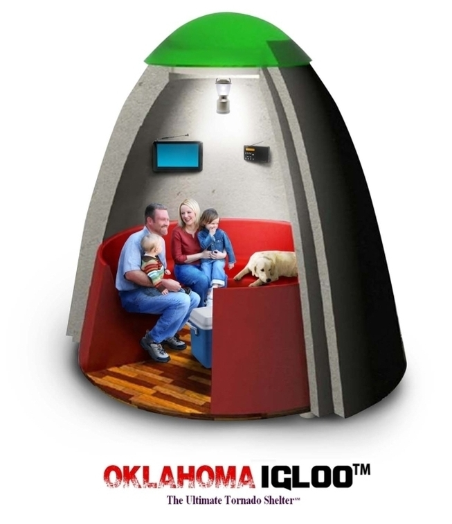 A Typical Family Comfortably Seated Inside An Oklahoma Igloo Retreat During  A Severe Weather Event.Family In Shelter ...
