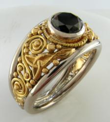 Black diamond Celtic ring