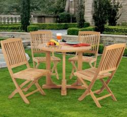 Caluco Teak 5 Pc Dining Set 50-503 - Natural Teak Finish