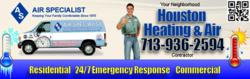 Air Specialist HVAC 713-936-2594 is a Top Rated Air Conditioning Repair Contractor in Houston, TX. Call now for Repair on Trane, Carrier, Lennox, Bryant, Maytag and other top brands.