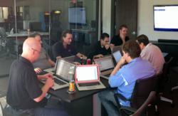 The Isos Team Working on Bootstrap's Website After Hours
