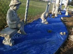 Close the Loop Glass Mulch with Paolini's Cast Stone Sculptures