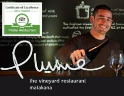 Plume Vineyard Restaurant Awarded Certificate of Excellence by TripAdvisor