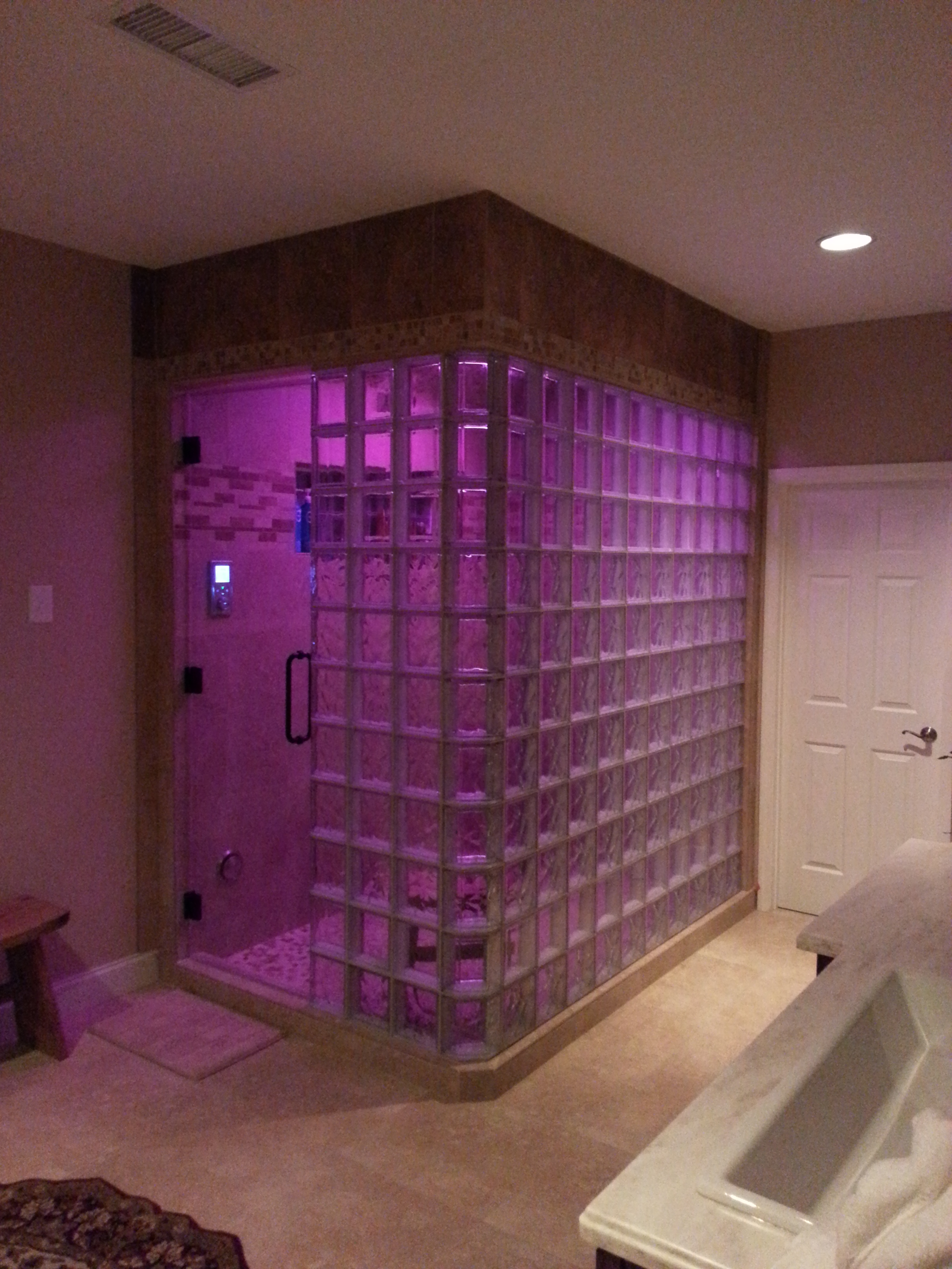 A new glass block steam shower can add a relaxing retreat for Build steam shower