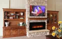 Stone Fireplace Wall with 2 Buffets featured in the Arrowhead showroom