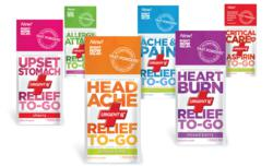 Aspirin to Go™, Headache Relief to Go™, Heartburn Relief to Go™, Upset Stomach Relief to Go™, Ache & Pain Relief to Go™ and Allergy Attack Relief to Go™.