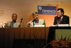 Muhammad Yunus, Damian von Stauffenberg, and Chuck Waterfield debate the Compartams IPO at the 2008 Summit in Bali.