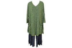 Comfy USA V-Neck Tunic Top with Two Pockets--Green Space Dyed S-1X