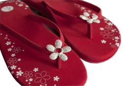Red Pave Petal Flower Bling Flip Flops