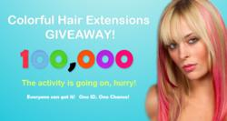 100,000 Colorful Hair extensions Giveaway