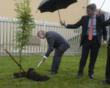 HRH Prince of Wales planting an autumn spire rowan tree (native to Wales), protected from the rain by Richard Barker (CEO, Biogen)