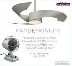Torto Ceiling Fan and UrbanJet Portable Tabletop Fan from Fanimation