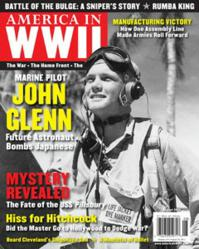Lieutenant John Glenn as a marine fighter pilot in the Marshall Islands during World War II--seen on the August 2013 issue of AMERICA IN WWII magazine.