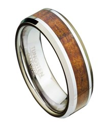 Men's Eternity Style Tungsten and Koa Wood Ring