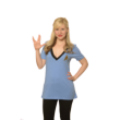 When Eckstein came out with the Uhura costume top, she heard all the requests for more v-necks and fangirls wanted a top in Science blue like Spock. Available at Comic-Con & online.