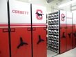 athletic gear storage on modular mobile shelving
