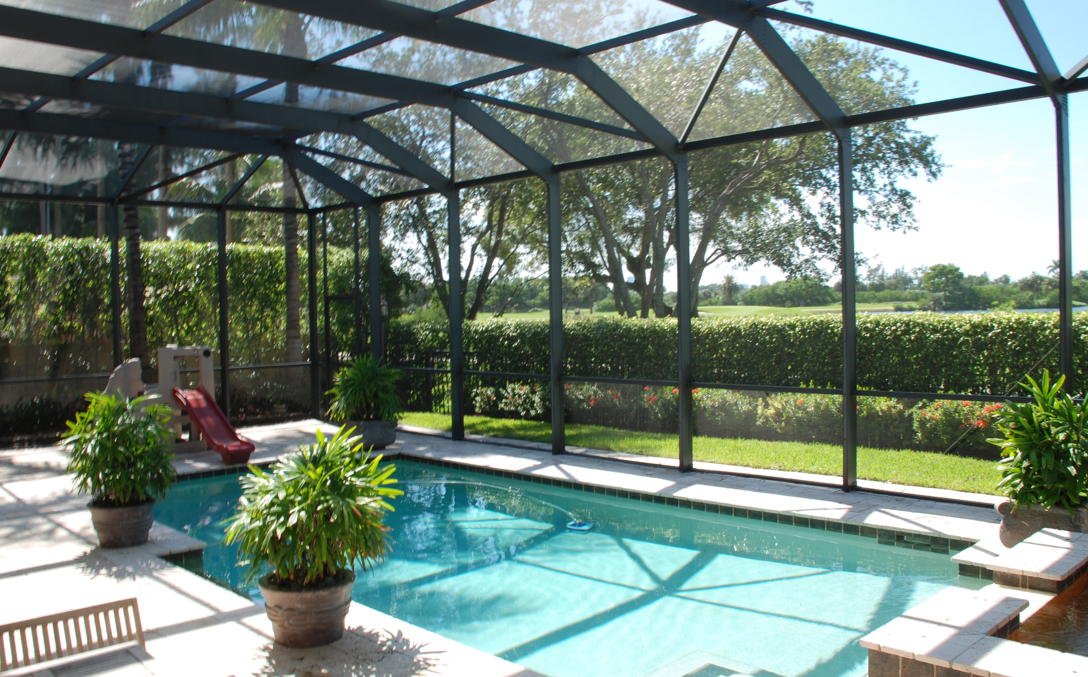 Venetian builders inc miami increases marketing of for Plexiglass pool enclosure