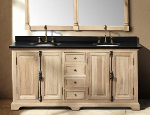 Has introduced new solid wood bathroom vanities from james martin furniture for Unfinished wood bathroom cabinets