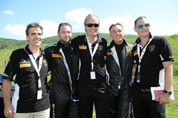 The Lamborghini Beverly Hills / GMG team at the opening round of the all-new Lamborghini Blancpain Super Trofeo Series.