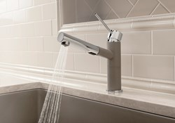 The BLANCO ALTA Compact spout can be swiveled through 120° for greater coverage